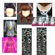 Sơmi sọc, đen trắng (nam) - Sơ mi tím hồng,đai thắt eo (nữ) - Quần thể thao,Graphic đen (đôi) - Giầy đế hồng,dễ thương (đôi) - Tai nghe,màu sắc (đôi) - Cáo nơ,xanh